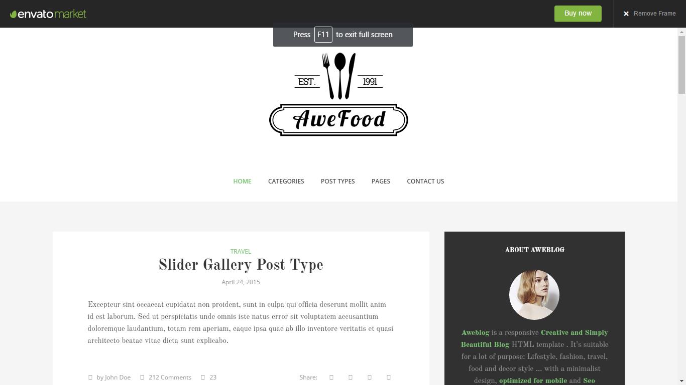 Aweblog - Creative and Minimal Blog HTML Template