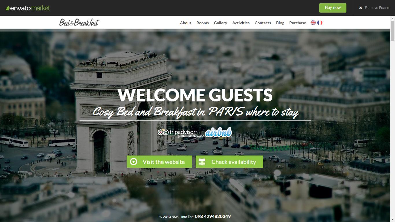 Bed&Breakfast | Single Page WordPress Theme