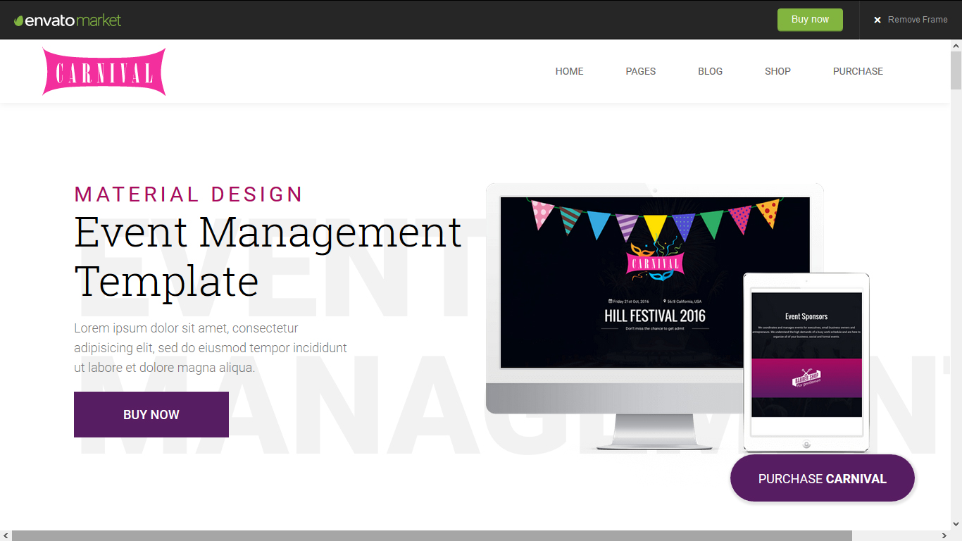 Carnival - Material Event HTML5 Template