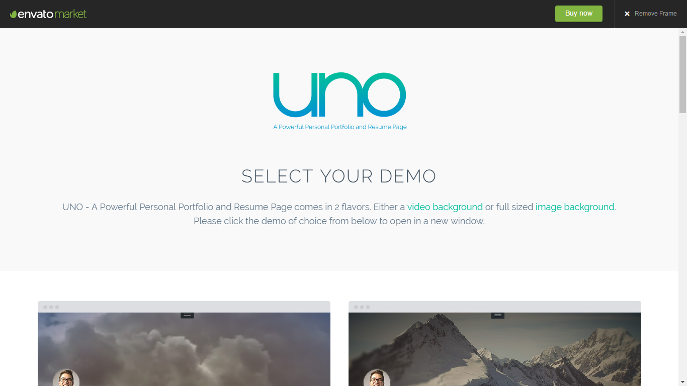 Uno - Personal Portfolio & Resume Page