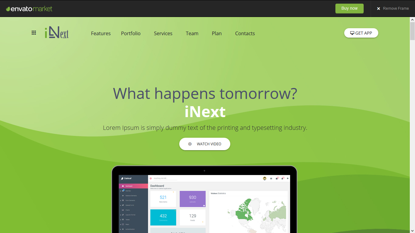 iNext - One Page Responsive HTML Template
